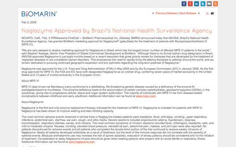 Screenshot of bmrn.com - Naglazyme Approved by Brazil's National Health Surveillance Agency (NASDAQ:BMRN) - captured Aug. 20, 2016