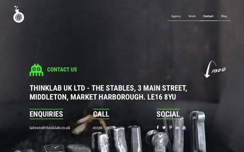 Screenshot of Contact Page thinklab.co.uk - Creative design agency - thinklab - thinklab - captured March 25, 2016