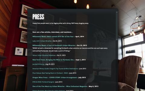 Screenshot of Press Page ensowinery.com - Press « enso urban winery + tasting lounge - captured Sept. 30, 2014
