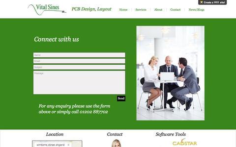 Screenshot of Contact Page vitalsines.co.uk - PCB Design, PCB Layout, UK, Altium Cadstar PADS - captured Dec. 16, 2016