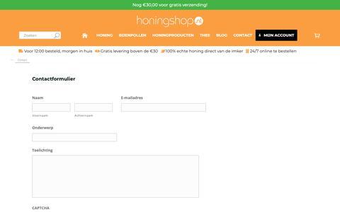 Screenshot of Contact Page honingshop.nl - Wij komen graag in contact met je - Honingshop.nl - captured Sept. 30, 2018