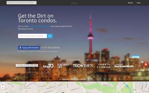 Screenshot of Home Page thedirt.co - Dirt - Read reviews about the best condos in Toronto. - captured Oct. 5, 2014