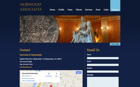 Screenshot of Contact Page nalobby.net - Norwood & Associates Government Relations  – Contact - captured Oct. 6, 2014