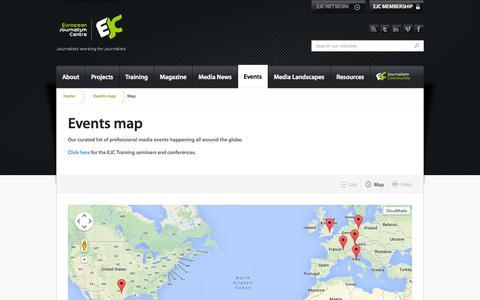 Screenshot of Maps & Directions Page ejc.net - Events map |  European Journalism Centre (EJC) - captured Sept. 23, 2014
