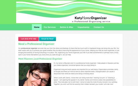 Screenshot of Home Page katyhomeorganizer.com - Professional Organizer Houston Area | Katy Home Organizer - captured Sept. 20, 2018