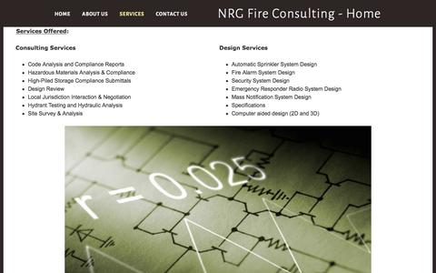 Screenshot of Services Page nrgfireconsulting.com - Fire protection services in Seattle and Puget Sound - captured Nov. 30, 2016