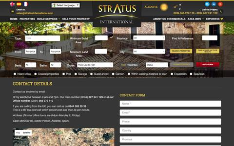 Screenshot of Contact Page stratusinternational.com - Contact Details - captured Dec. 2, 2016