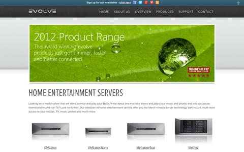 Screenshot of Products Page evolvemedia.eu - Home Entertainment Servers - captured Oct. 3, 2014