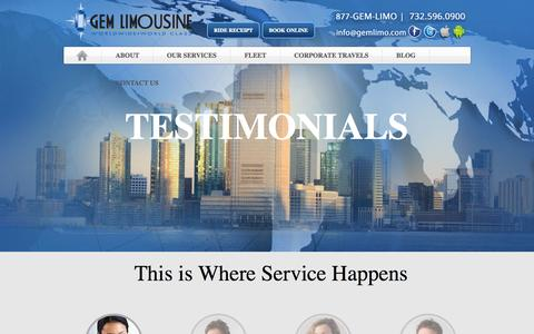 Screenshot of Testimonials Page gemlimo.com - Gem Lomousine - captured Oct. 2, 2014