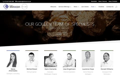 Screenshot of Team Page minxcon.co.za - Minxcon Golden Team of Highly Qualified Specialists - captured Nov. 19, 2018