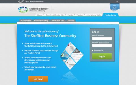 Screenshot of Login Page scci.org.uk - Member Centre - Sheffield Chamber of Commerce - captured Oct. 26, 2014