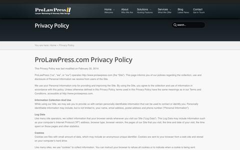 Screenshot of Privacy Page prolawpress.com - Privacy Policy - ProLawPress.com | ProLawPress.com - captured Oct. 3, 2014