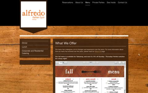 Screenshot of Menu Page alfredobyo.com - alfredo restaurant - Menu - captured Oct. 4, 2014