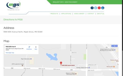 Screenshot of Maps & Directions Page mgsmachine.com - Directions to MGS - MGS Machine - captured May 26, 2017