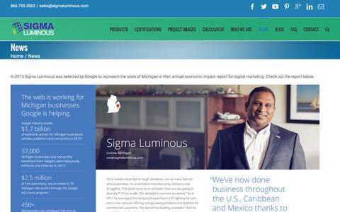 Screenshot of Press Page sigmaluminous.com - News - Sigma Luminous | Sigma Luminous - captured Jan. 10, 2016