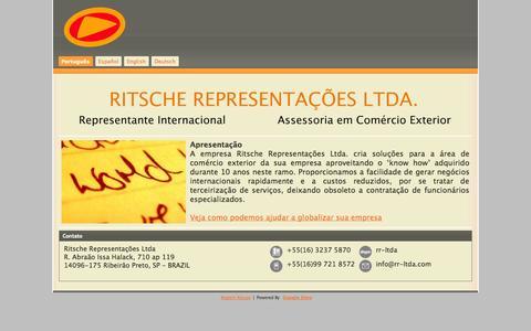 Screenshot of Home Page rr-ltda.com - Ritsche Representações Ltda. - captured Oct. 6, 2014