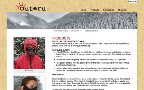 Screenshot of Products Page outeru.com - Products - Outeru - captured Dec. 18, 2016