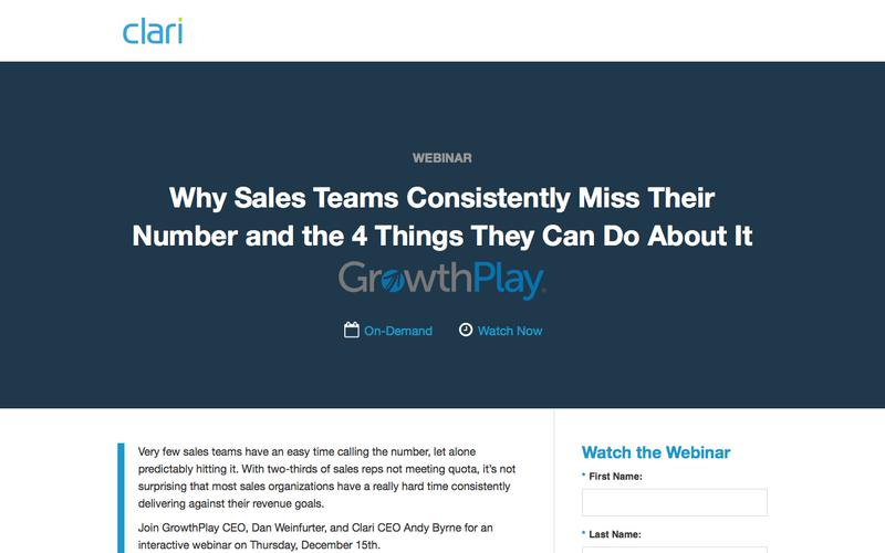 Webinar: Why Sales Teams Consistently Miss Their Number, and the 4 Things They Can Do About It