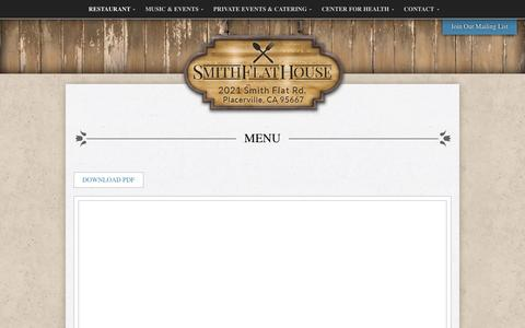 Screenshot of Menu Page smithflathouse.com - Menu : Smith Flat House - captured Feb. 15, 2016