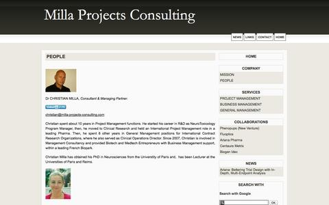 Screenshot of Team Page milla-projects-consulting.com - PEOPLE - Milla Projects Consulting - captured Sept. 30, 2014
