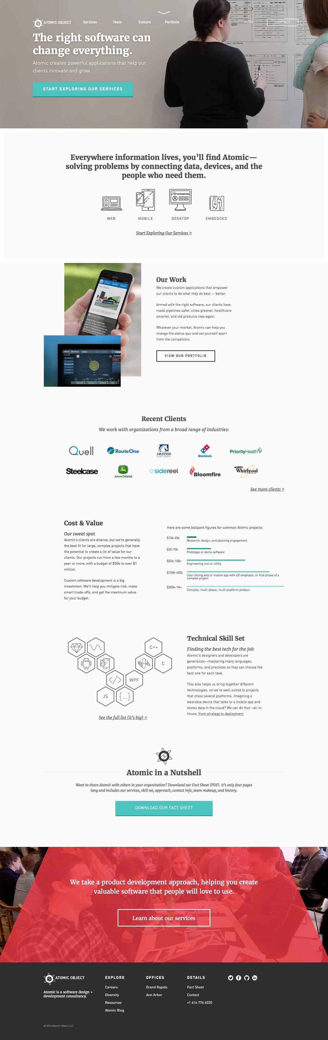 Screenshot of atomicobject.com - Custom Software Development & Design | Atomic Object - captured Dec. 7, 2016