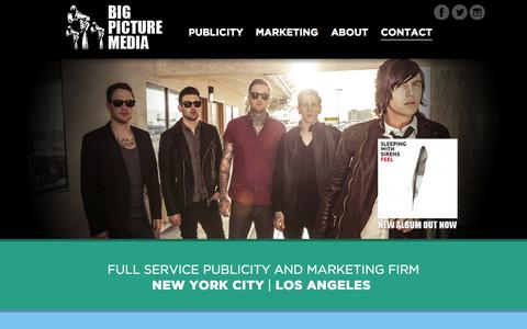 Screenshot of Home Page bigpicturemediaonline.com - Big Picture Media   Full service publicity and marketing firm: NYC   Los Angeles - captured Oct. 5, 2014