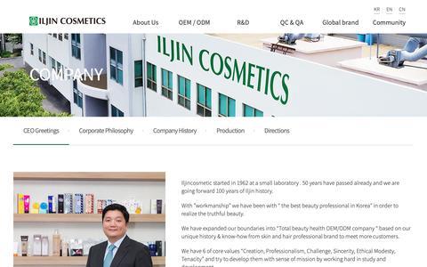 Screenshot of About Page iljincosmetics.com - ILJIN Cosmetics - captured Nov. 5, 2018
