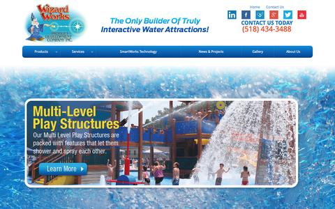 Screenshot of Home Page wizardworks.biz - Aqua Park Installation, Campground Waterpark Installation, Splash Pad Builder, Water Park Engineers & Water Playground Design | Wizard Works - captured Dec. 3, 2016