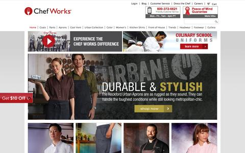 Screenshot of Home Page chefworks.com - Chef Works | Chef Clothing and Uniforms for Restaurants and Hotels - captured Oct. 8, 2015