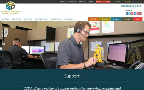 Screenshot of Support Page csdsinc.com - Support | California Surveying and Drafting Supply - captured Sept. 26, 2018