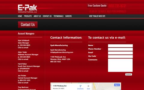 Screenshot of Contact Page epakmanufacturing.com - Front Load Containers, Rear Load Containers - captured Oct. 1, 2014