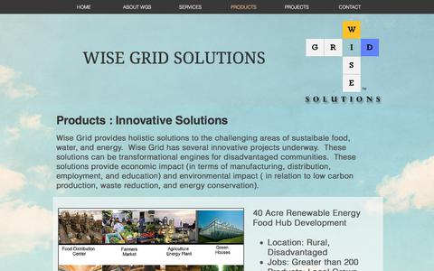 Screenshot of Products Page wisegridsolutions.com - wisegridsolutions | PRODUCTS - captured Nov. 7, 2017