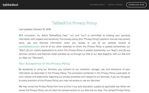 TabbedOut Privacy Policy — TabbedOut