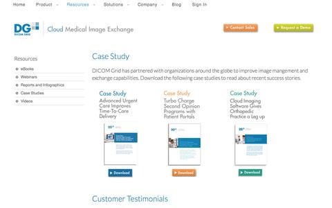 Screenshot of Case Studies Page dicomgrid.com - Case Studies  | DICOM Grid - captured Sept. 15, 2014
