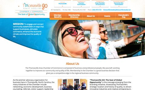 Screenshot of About Page thomasvillechamber.net - Thomasville, North Carolina Chamber of Commerce About Us - captured Oct. 18, 2018