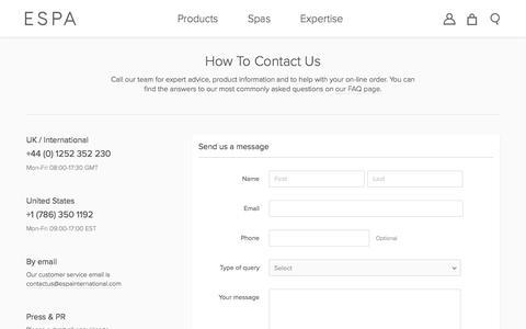 Screenshot of Contact Page espaskincare.com - How To Contact Us  | ESPA - captured March 30, 2017