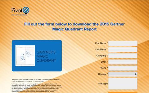 Screenshot of Landing Page pivot3.com - Download the 2015 Gartner Magic Quadrant Report. - captured May 6, 2016