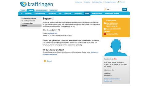 Screenshot of Support Page kraftringen.se - Support för fiber för företag - Kraftringen - captured Aug. 9, 2016
