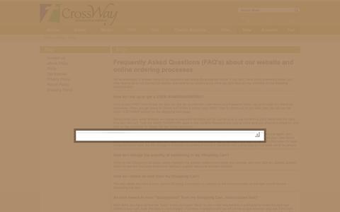 Screenshot of FAQ Page cross-way.com - FAQs - Cross Way Christian Supply - captured Sept. 25, 2018