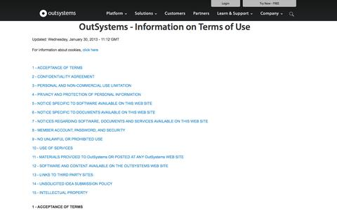 OutSystems Web Properties - Terms of Use