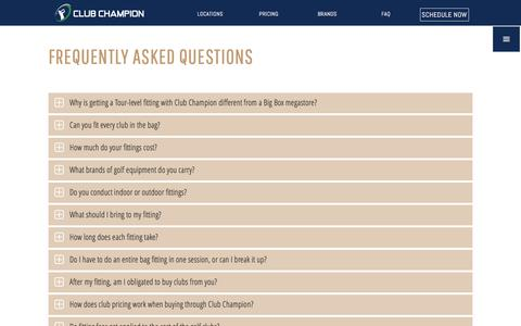 Screenshot of FAQ Page clubchampiongolf.com - FAQ - Club Champion Golf - captured Nov. 7, 2016