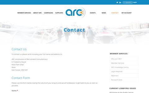 Screenshot of Contact Page arc-org.net - CONTACT   - captured July 6, 2017