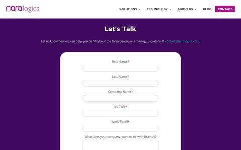 Screenshot of Contact Page naralogics.com - Contact - Nara Logics, Inc. - captured Oct. 19, 2018
