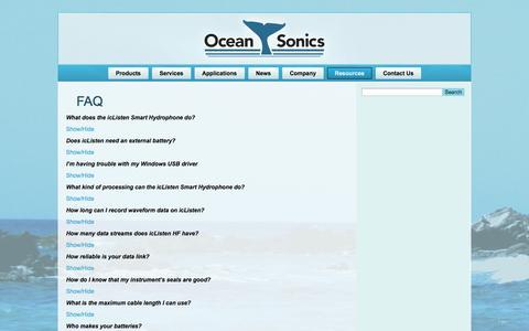 Screenshot of FAQ Page oceansonics.com - FAQ | Ocean Sonics - captured Oct. 27, 2014