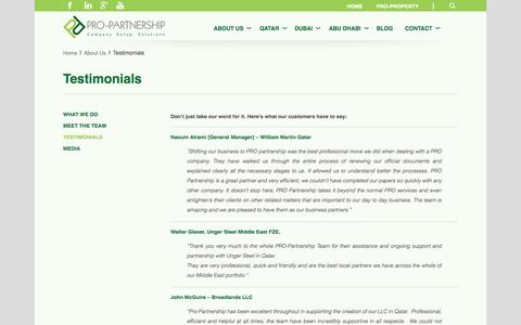 Screenshot of Testimonials Page pro-partnership.com - Testimonials   What Our Clients Are Saying   PRO-Partnership - captured Oct. 1, 2014