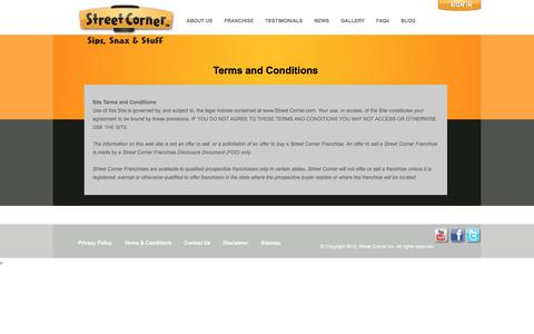 Screenshot of Terms Page streetcorner.com - Terms and Conditions - Street Corner Franchise ™Street Corner Franchise ™ - captured Dec. 16, 2016