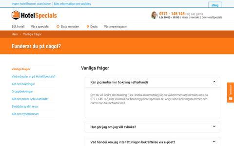 Screenshot of FAQ Page hotelspecials.se - hotelspecials.se - captured Sept. 22, 2018