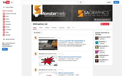 Screenshot of YouTube Page youtube.com - SAGraphics Ltd  - YouTube - captured Oct. 23, 2014