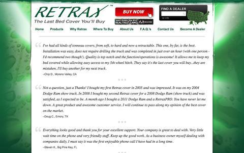 Screenshot of Testimonials Page retrax.com - Testimonials   Retrax - captured Oct. 9, 2014