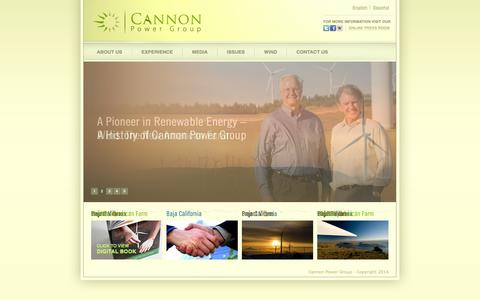Screenshot of Home Page cannonpowergroup.com - Cannon Power - Cannon Power Group - captured Sept. 29, 2014